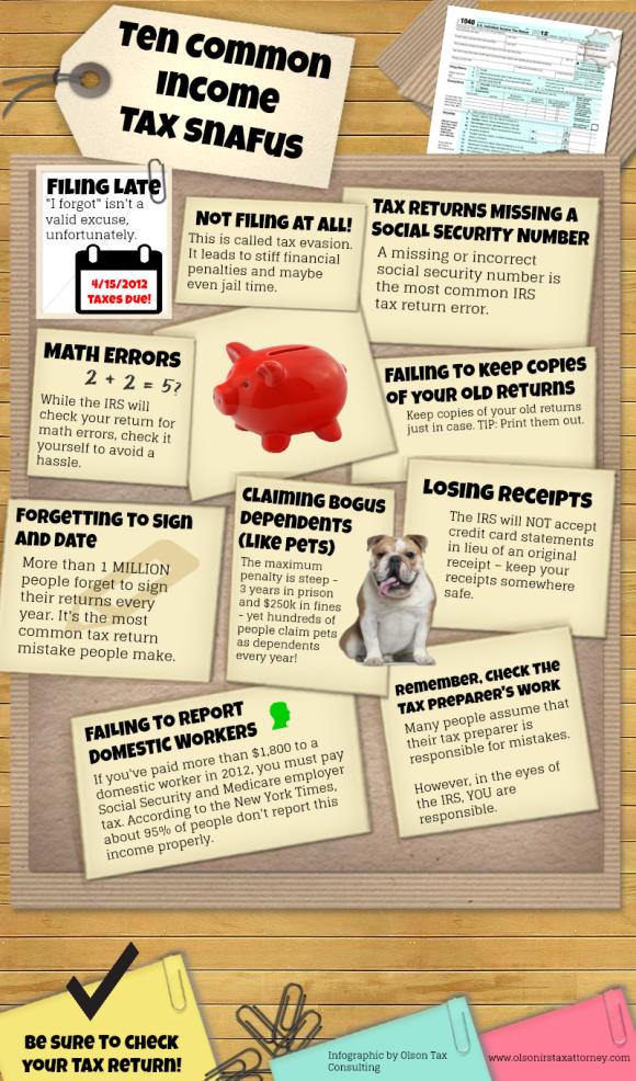 Ten Common Income Tax Snafus