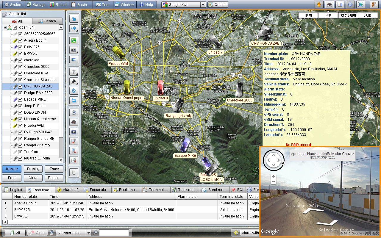 GPS Tracker Screenshot and Fleet Management
