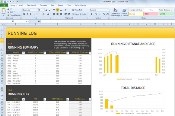 Excel Running Log Template