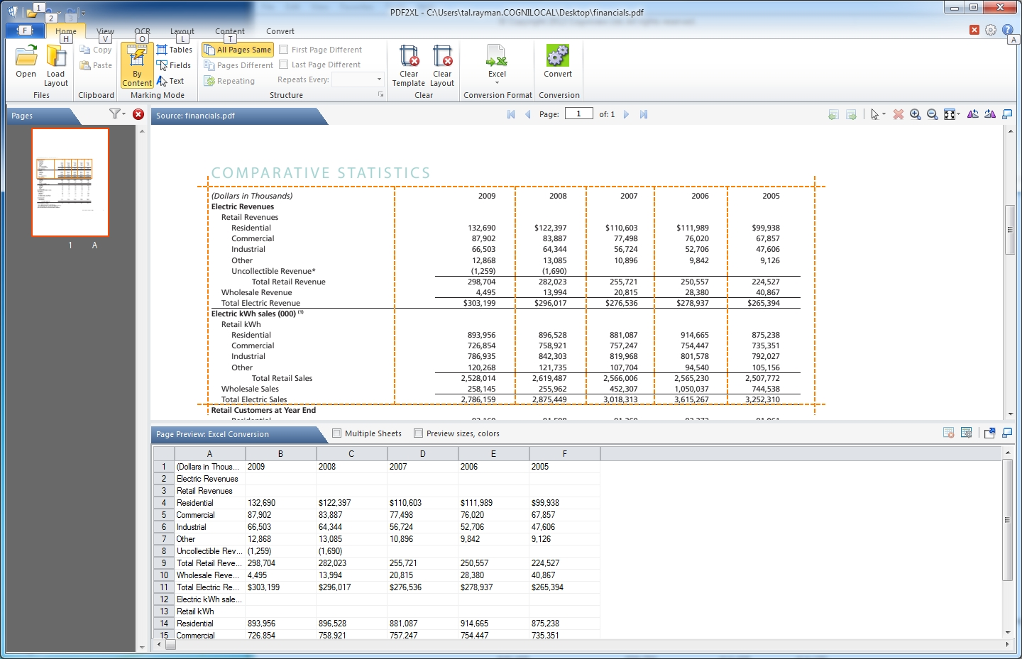 Click to view PDF2XL: Convert PDF to Excel 4.14.6 screenshot