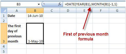 =DATE(YEAR(B1),MONTH(B1)-1,1)