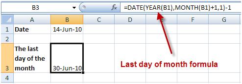 =DATE(YEAR(B1),MONTH(B1)+1,1)-1