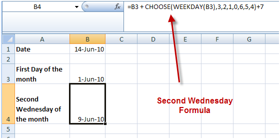 =B3 + CHOOSE(WEEKDAY(B3),3,2,1,0,6,5,4)+7