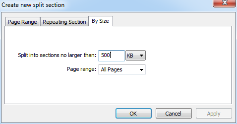 Split PDFs by Size
