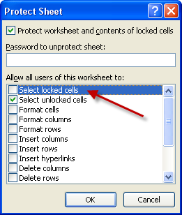 excel cell protection password