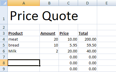 template for quotation price